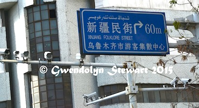Xinjiang Folklore Street Sign and Surveillance Cameras, Urumqi, Xinjiang, Photographed by Gwendolyn Stewart, c. 2015; All Rights Reserved