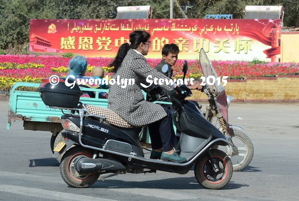 Turpan Motor Traffic, Xinjiang, China, Photographed by Gwendolyn Stewart, c. 2015; All Rights Reserved